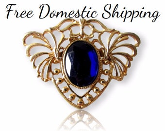 Gold Tone Brooch, Faux Sapphire Brooch, Open Shield Brooch, Blue Crystal Brooch, Art Nouveau, Victorian Collar Brooch, Free US Shipping