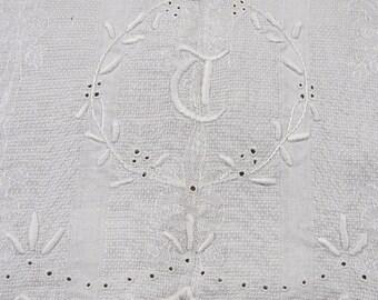 Vintage Damask Linen Towel with Monogram T