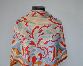 Vintage PRINTED SILK SCARF , hand rolled silk scarf...........(305)