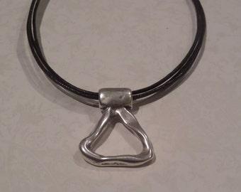 Unique Triangle Silver Pendant on Black Cords