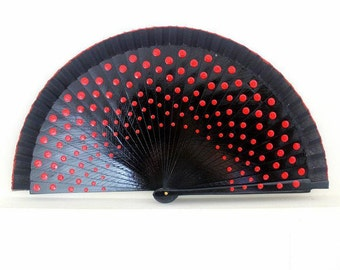 Hand Fans, hand fan, Abanico, fan in black with red dots