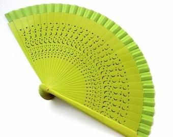 Hand Fans, hand fan, Abanico, fan in apple green