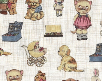 Windham Quilt Fabric - Paper Doll Series - Animals - SKU 28119 - By the Yard