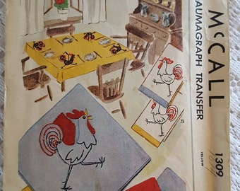 1946 Rooster Iron on Kaumagraph Transfer McCall 1309 Yellow Design for The Home Decorator UNCUT