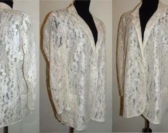 1980s 80s White LACE  Blazer / Sheer / jacket / Oversized / boxy / chic / women's /  Vintage / one size
