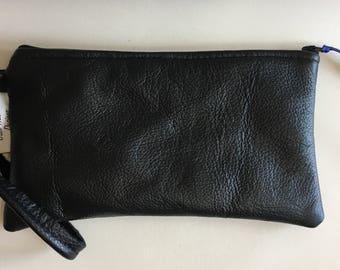 Black leather clutch bag,Leather wristlet clutch,Leather evening bag,Black leather bag