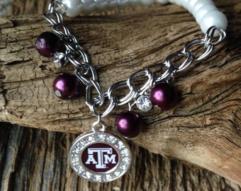Texas A&M Aggies pearl bracelet: Texas Aggies upcycled bracelet with pearls, Aggies jewelry