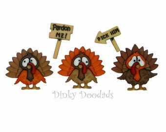 TURKEY TROT by Dress It Up, Jesse James, Thanksgiving, fall, novelty buttons, embellishments, Turkey buttons