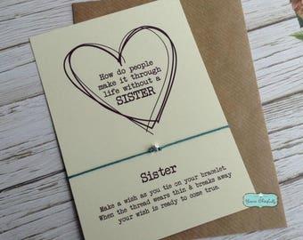 Sterling Silver Sister Friendship Bracelet, Sister Silver Star, Sister Silver Bracelet, Sister Card, Gift for Sister, Sister Birthday,