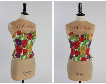SALE! Vintage original 1950s 50s floral print sweetheart strapless top bodice bustier uk 6 US 2 XS