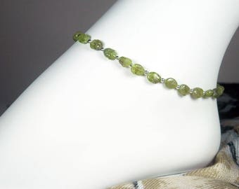 """Gemstone Ankle Bracelet - Peridot Anklet - Green and Silver Anklet - August Birthstone  - Girls - Plus Size - 7"""", 8"""", 9"""", 10"""", 11"""", 12"""", 13"""""""