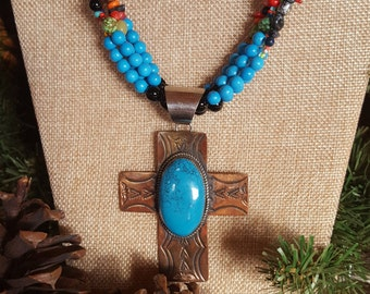 Copper and Turquoise Cross Necklace