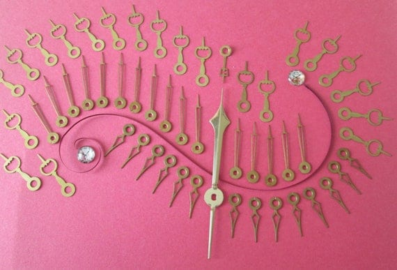 52 Assorted Vintage Solid Brass Mixed Designs Clock Hands - for your Clock Projects , Jewelry Making, Steampunk Art & Etc...