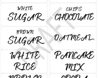 30 Pantry Jar Labels Handlettering- Instant Download