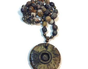 Carved Jade Necklace, Jasper Necklace, OOAK, Earth Tone Jewelry, Beaded Necklace, Statement Necklace, Beaded Necklace, Layer Necklace