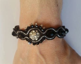 Soutache Bracelet, Handmade, Upcycled,Hand Embroidered, Braid, Beads, Black