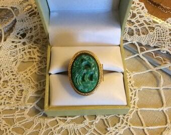 Vintage Avon Locket Ring Faux Jade-Bird of Paradise-Perfume Ring-Poison Ring-Jade Ring