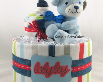 Boy diaper cake   Baby diaper cake   Diaper cupcake   Baby shower gift   Baby sprinkle decoration   New mom gift   Unique baby gift