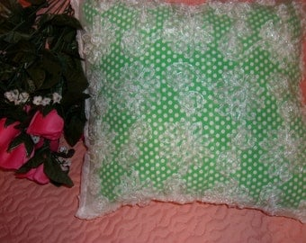Pretty Princess Pillow in Green and White Polka Dot and Floral Embellishments Overlay