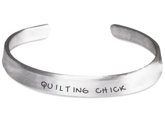 Quilting Chick Stamped Cuff Bracelet - Quilter Quilt