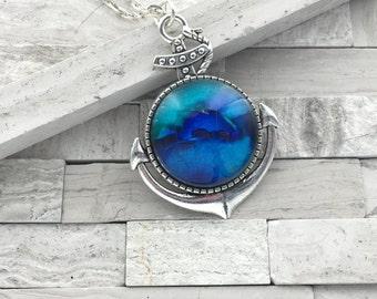 Anchor INKscapes Blue Pendant, Nautical Pendant