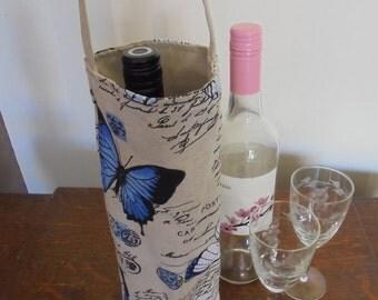 Blue butterfly wine tote