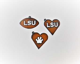 LSU themed (2) pendant charms made out of rusted metal
