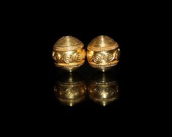 Two 12mm 22 Karat Gold Vermeil Barrel Beads, Gold Vermeil Beads, Gold Beads, Gold Plated Beads, 12mm Gold Vermeil Beads, Bali Vaermeil Beads