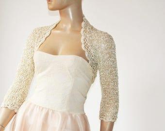Gold crochet shrug/ Wedding bolero shrug//Bolero jacket/Lace shrug/Bridal shoulders cover/Bridesmaids Cover up Bolero
