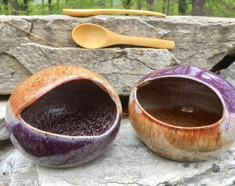 Ceramic Salt Cellar - Rich Nutmeg and Deep Purple