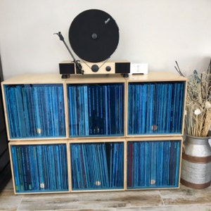 Stackable Storage Cube Clear Blue Lp Vinyl Record Storage