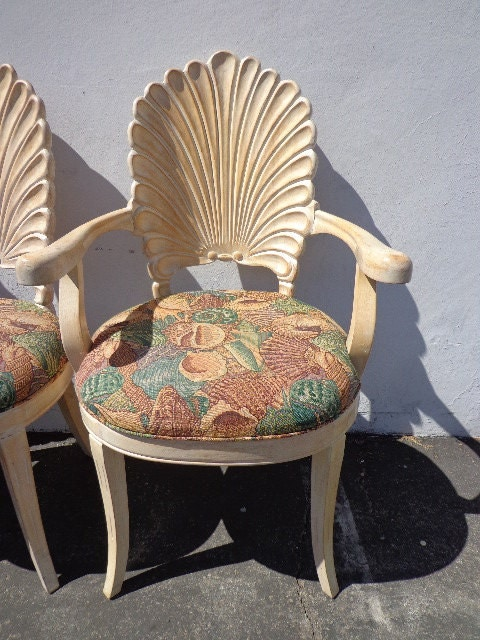 For Genevieve Armchairs Italian Carved Wood Seashell Shell