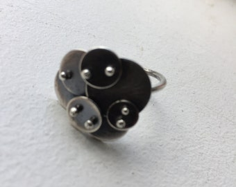 Sterling silver cloud ring. Lisa Colby metalsmith (R72)