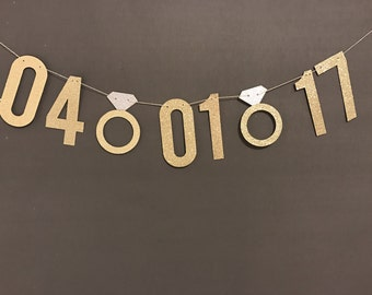 Save the Date Banner - Wedding Date 5.50 inch letters/ Bachelorette Party Decorations/Gold Glitter Banner/ Engagement party decor