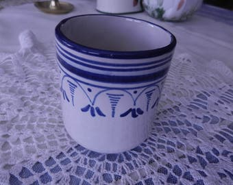 Teacup - handpainted - blue and white -  stamped on bottom