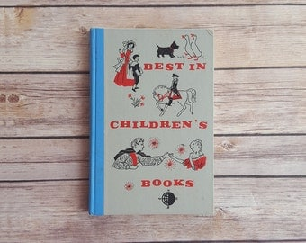 Vintage Fairy Tale Children's Collection 1959 Retro Kids Book Best in Children's Books 50s Blue Fable Stories Characters Baby Shower Book