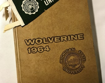 Vintage Yearbook and Pennant - Michigan State U - 1964