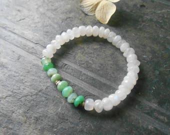 Chrysoprase and rainbow moonstone stretch bracelet, gemstone stacking bracelet, beaded bracelet