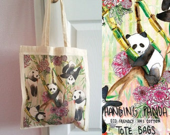 Hanging Panda  100% Cotton Tote Bag - Design on both Sides - Eco Friendly - Reusable