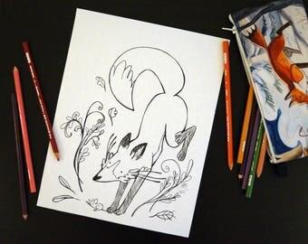 PDF Fox coloring page