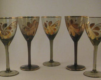 Vintage Smoke Grey Gray and Gold Stemmed Glasses (5), Gold Floral Pattern, Bohemian Style, Romania, Mid Century