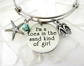 Toes In the Sand Bangle Bracelet - Expandable - I'm A Toes In the Sand Kind of Girl beach jewelry - Engraved