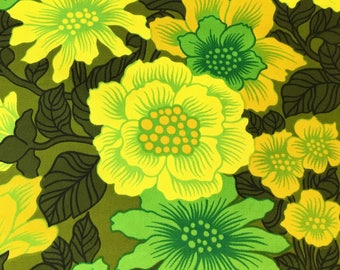 70's Vintage green flower power cotton drill fabric