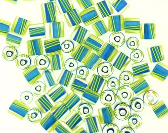 Furnace Glass Beads, 83 Mini Cube Beads,  Aqua with Lime Yellow stripes # 2