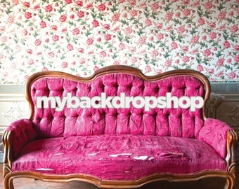 5ft x 5ft Shabby Floral Wallpaper Photo Prop - Burgundy Sofa Couch Photography Backdrop -  Full Room Photo Prop - Item 3056