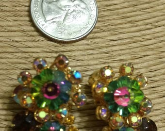 Pair of Vintage Beau Jewels Multi-Colored Rhinestone Floral Pattern Clip-on Earrings