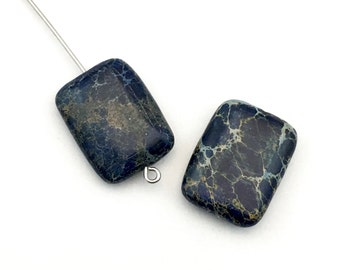 2 dark blue impression jasper stone beads  /15mm x  20 mm  #PP 352