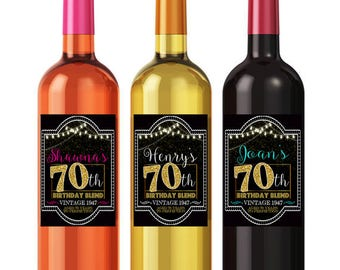 Personalized 70th Birthday Custom Wine Labels, Cheers to 70 Years, 70th Birthday Gift, 70th Party, Vintage Aged to Perfection 70th Printable