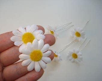 6 Silver Bridal Hair Pins - White Gerber Daisy Bobby Pin Jewellery - Wedding Bride Hair Accessories - Bun Pin