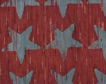 Star Fabric by the Yard, Cotton, Quilting, Farmhouse, Rustic, Patriotic, Blue, Red, Country, Americana, Denim, Barn, Home Decor, Craft